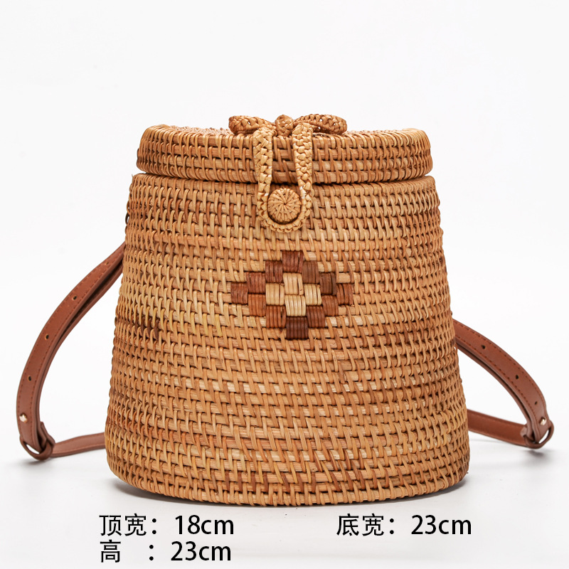 все цены на Bali Island Hand Woven PU Leather Bag Round Butterfly buckle Rattan Straw Backpacks Bohemia Circle Beach Travel Bag For Women