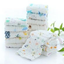 Cotton childrens small square scarf 6 layer fold handkerchief Childrens towel six gauze saliva print