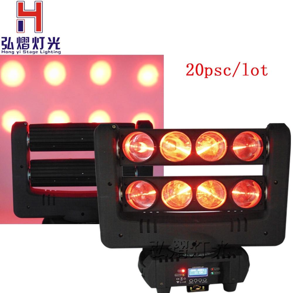 20 pièces 8x10 W 4IN1 RGBW MINI LED araignée tête mobile faisceau lumière DMX LED araignée lumière araignée LED tête mobile