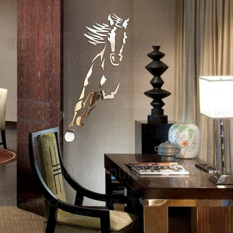 horse acrylic mirror wall stickers decor living room bedroom decor