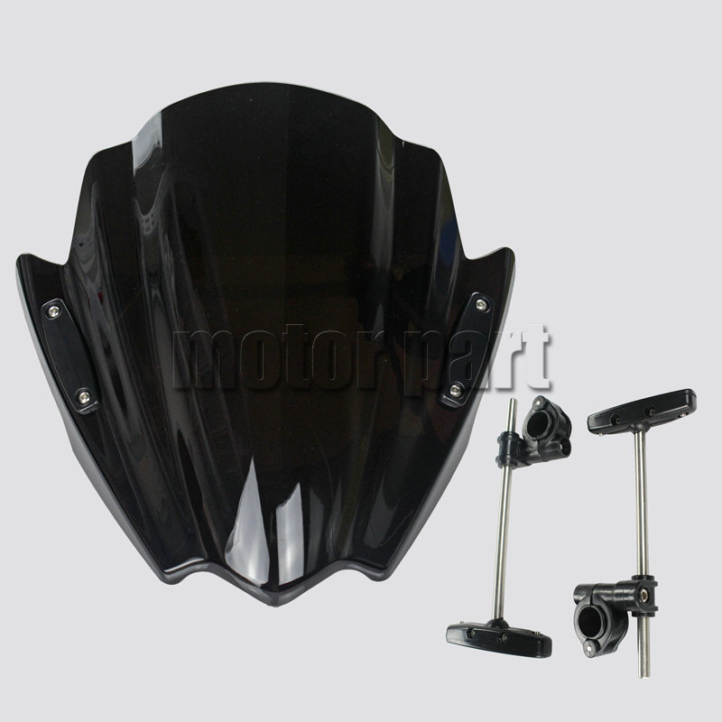 Motorcycle Windshield For 2006-2014 Yamaha FZ1 FZ1N FZ6 S2 FZ8 XJ6 XJ6N ABS Plastic Windscreen Deflectors Black 04 09 10 12 13