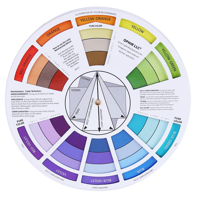 Online Shop Ophir 12 Colors Airbrush Nail Ink Pigment W Color Wheel