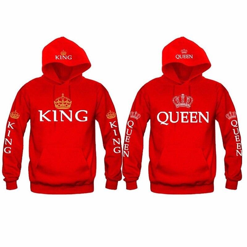 Otoño nuevo par Sudadera con capucha de La Reina corona de rey de impresión azul hombres mujeres Sudadera con capucha amantes de la moda rojo de moda Sudadera con capucha Casual