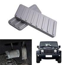 Aluminum Alloy Accelerator Brake Pedal Protector Cover Left-Hand Drive Strip For Jeep Wrangler JK 2/4-Door 2007-2016 //