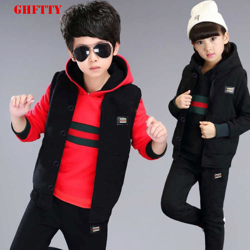 Kids Clothing Children Sport Suit 3-pcs Winter Sweater Plus Cashmere Thickened Baby Boys Girls Clothing Sets Children Set kids clothing children sport suit 3 pcs winter sweater plus cashmere thickened baby boys girls clothing sets children set
