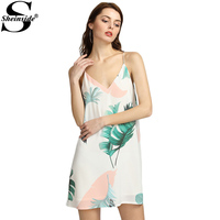 Sheinside White Cami Summer Dress Women Palm Leaf Print Double V Neck Casual Shift Dresses 2017