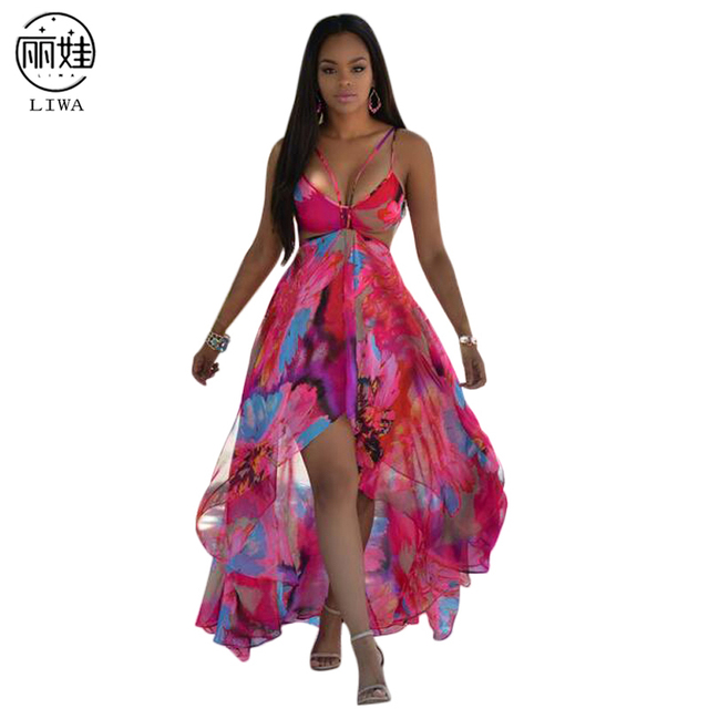 fb0b4aacfa7 5 color Sexy Bobemian Print Floral Chiffon Summer Dress Halter Backless  Party Irregular Split Maxi Dresses Vestidos de PlayaD103