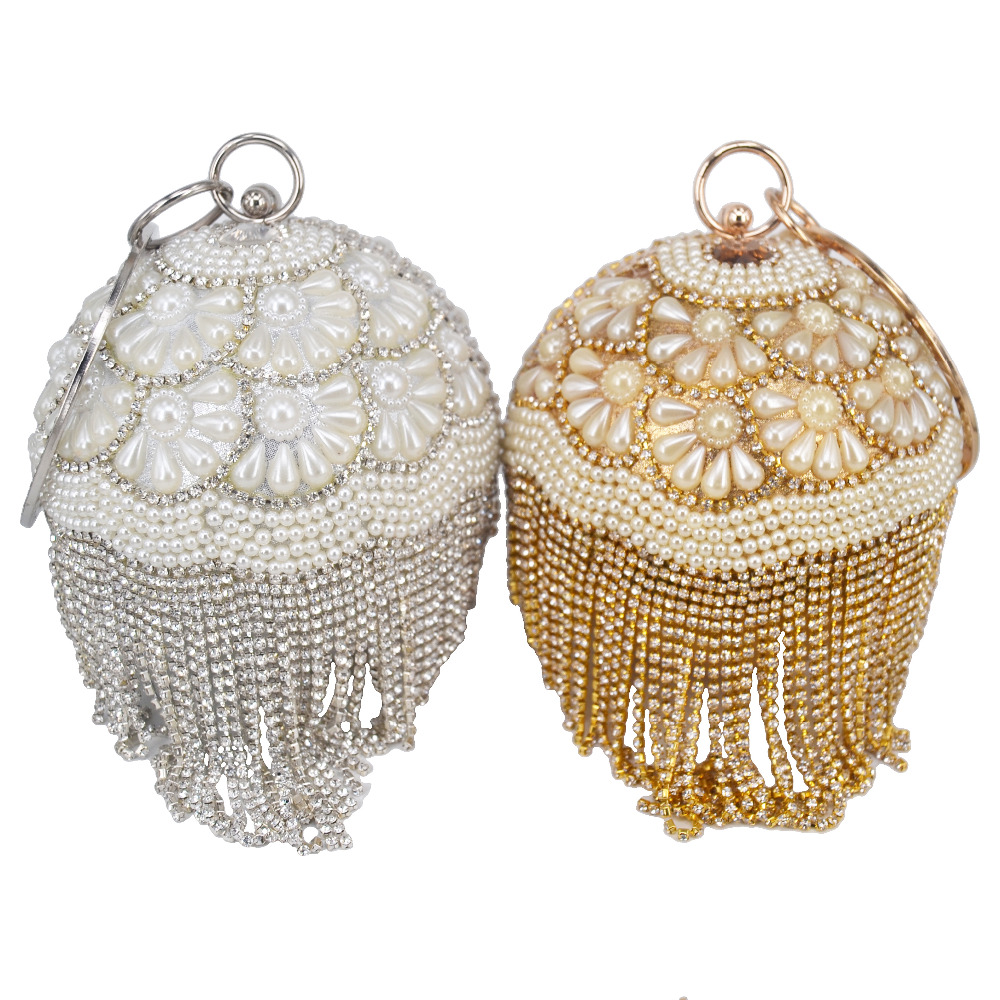 Bowling Design Pearl Clutch Bag circular ring Wristlets Bag Women Party  Evening Bag Crystal tassels Ball Female wallet XQ 15-in Top-Handle Bags  from Luggage ... fb98ae3d4cc8