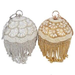 Bowling Design perła kopertówka okrągły pierścień Wristlets torba damska torba wieczorowa na imprezę kryształowe frędzle piłka portfel damski XQ-15