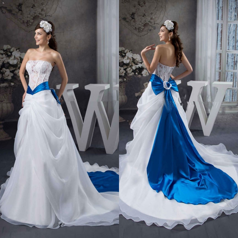 2014 elegant sexy see through lace ribbon sash royal blue for White wedding dress with blue accents