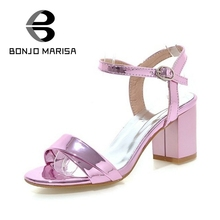 Bonjomarisa marke neue kleine große größe 33-43 platz high heels frauen sandalen casual offene spitze knöchelriemen sommer schuhe frau