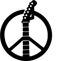 HotMeiNi 58cm x 58cm 2 x Peace Sign Music Guitar Graphical (one For Each Side)Car Sticker For Truck Window Auto Door Vinyl Decal
