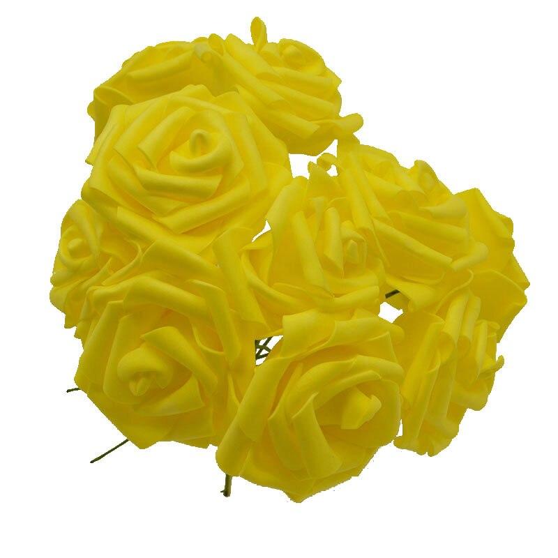 10 шт. 8 см большие ПЭ пенные цветы искусственные розы цветы Свадебные букеты Свадебные украшения для вечеринки DIY Скрапбукинг Ремесло поддельные цветы - Цвет: yellow no leaf