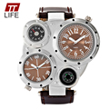 TTLIFE Watches Men's Outdoor Sports Temperature Compass Decoration Watch Leather Watchband Stainless Steel Case Anti Scratch