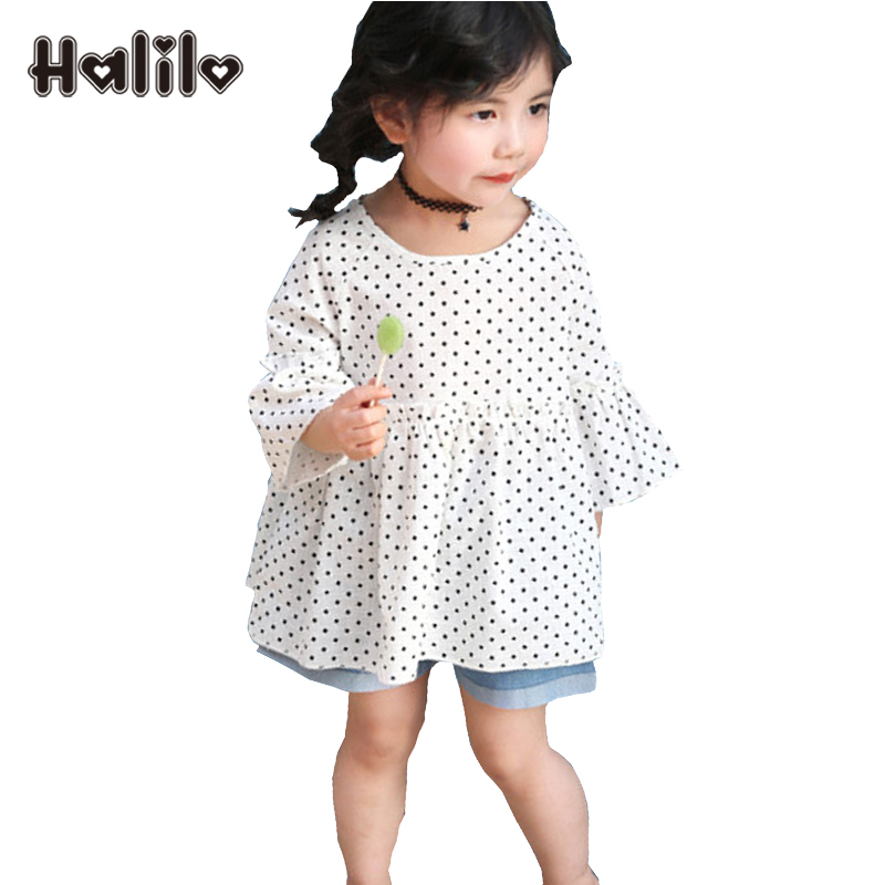 Halilo Girls Tshirt Half Sleeve Polka Dot Cotton Kids T-shirts Summer Children Clothing Toddler Tshirts Casual Girls Tops Tees