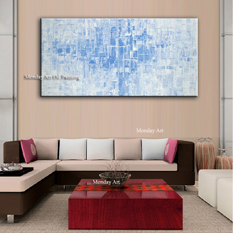 Free Shipping High Quality 100% Art Handmade Colorful House Blue Sky Landscape Huge no Frame Oil Painting on Canvas Wall Picture