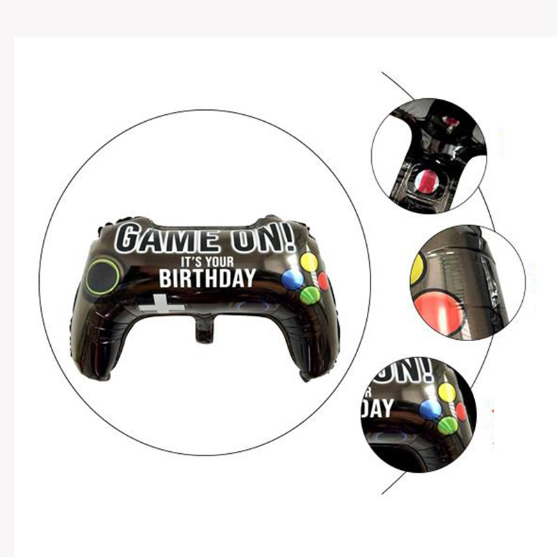 GAME ON boy HAPPY BIRTHDAY party decoration outer space foil balloon YAY Planet explore partner holiday image