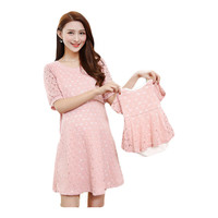 2 Pcs Summer Mother Daughter Lace Dress White Pink Maternity Dress for Pregnant Women Breast feeding Dress Mom Baby Cloth Family