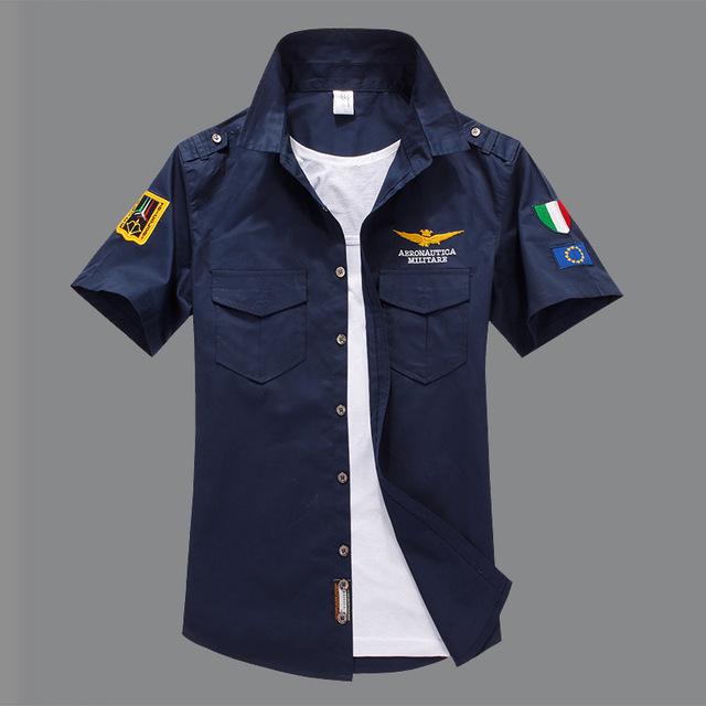 2016-Camisa de manga Curta dos homens Da Marca Da Indústria Da Aviação Tactical Air Force One homens Camisa,-Camisa de manga curta Bordado MY200