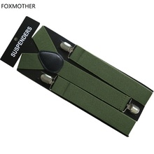 FOXMOTHER New 3.5cm Wide Clip On Adjustable Army Green Plain Color Suspenders For Mens