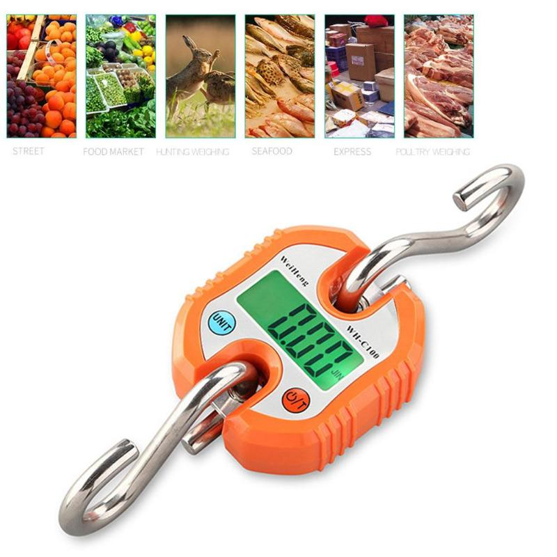 Mini Heavy Duty Electronic Digital Hook Scale Hanging Crane Scale Industrial LCD Luggage Balance Pocket Weighing Scale150KG300KG цена