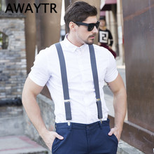 46c939dd6 AWAYTR Y Shaped Mens Suspender with 4 Clips Brand New High Elastic PU  Braces for Wedding Party Adult 3.5cm Trousers Suspensorio