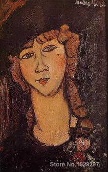 Canvas Paintings for living room Head of a Woman in a Hat (aka Lolotte) Amedeo Modigliani High quality Hand painted
