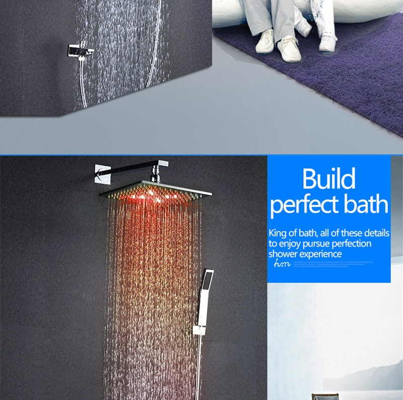 LED Shower Mixer Set Thermostat Faucet Shower Shower Head Powered by Water Square Saving Water Chromed Spout (3)