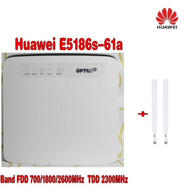 US $97 2 10% OFF|(yes optus logo)unlocked Huawei E5186 E5186s 61a  700/1800/2600MHz FDD 2300Mhz TDD wireless 4g 300M cpe wifi router+4G  antenna-in