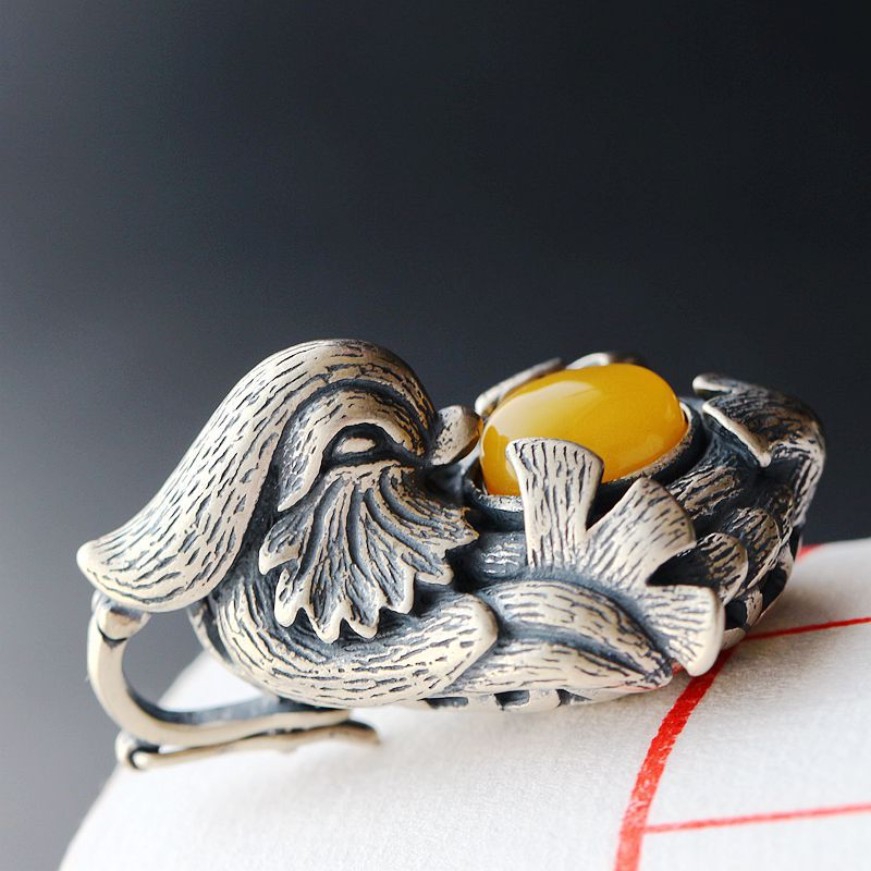 Wholesale Hand-decorated Natural Beeswax Retro Thai Silver Pendant S925 Sterling Silver Vintage Silver Duck Necklace vintage ivory decorated carving stainless steel pendant necklace