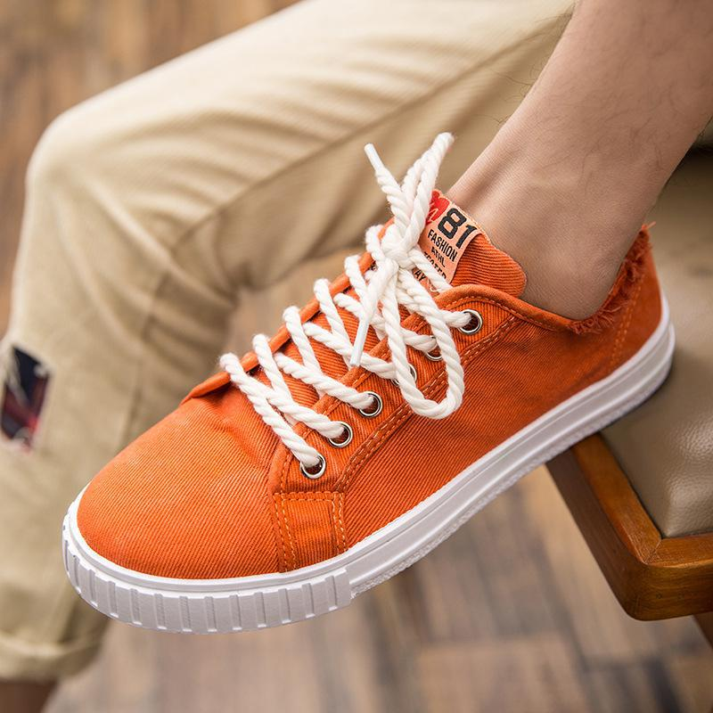 2018 Summer Men Casual Shoes Classic Canvas Shoes Men Lace up Flat Fashion Retro Youth White Shoes Denim Zapatillas Hombre