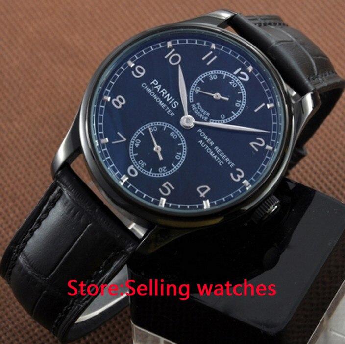 цена на 43mm Parnis PVD Case Power Reserve Automatic Watch