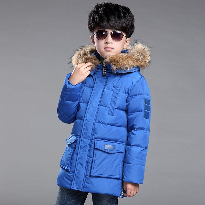 2017 Winter New Children's Down Jacket Long Thick Boy Winter Coat Duck Down Kids Winter Jackets for Boy Outerwear Fur Collar цены