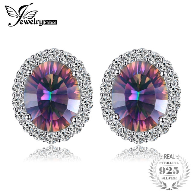 6.6ct Oval Natural Rainbow Fire Mystic Topaz Earrings Stud Genuine Pure 925 Ster