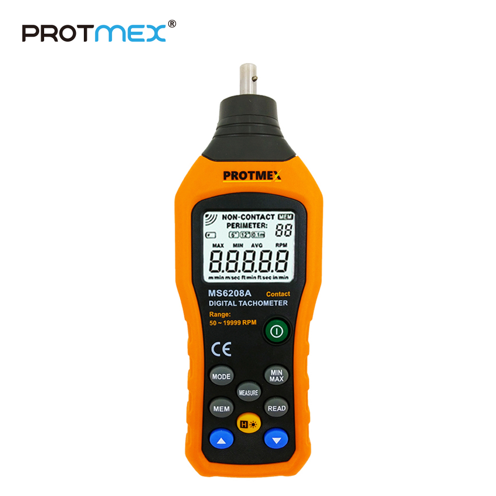 PT6208A LCD Display High Performance Revolution Meter Contact-type Digital Tachometer with Data Logging Backlight