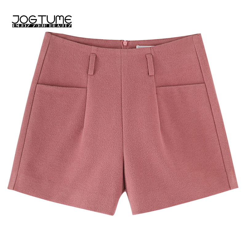 JOGTUME 2017 Winter Shorts Women Fashion Loose Cargo Shorts Plus Size Casual Female Warm Shorts for Fall Gray Black Pink Color ...