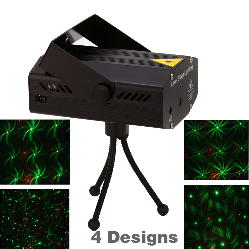 Free shipping ! 4 in 1 Mini Projector Red &Green DJ Disco Light Stage Xmas Party Laser Lighting Show With Tripod EU US plug xl m 03 4 in 1 stage lighting projector mp3 player speaker w usb sd remote controller tripod
