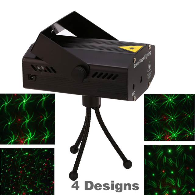 Best Price Free shipping ! 4 in 1 Mini Projector Red &Green DJ Disco Light Stage Xmas Party Laser Lighting Show With Tripod EU US plug