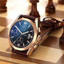 Men Business Watches Luxury Quartz AnalogSports Brand Chronograph Wristwatch Leather Strap Male Clock Relogio Masculino
