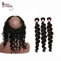 Pre Plucked 360 Lace Frontal With Bundle 3 Loose Wave Brazilian Human Hair Weave Bundles With Closure Baby Hair Remy Ever Beauty