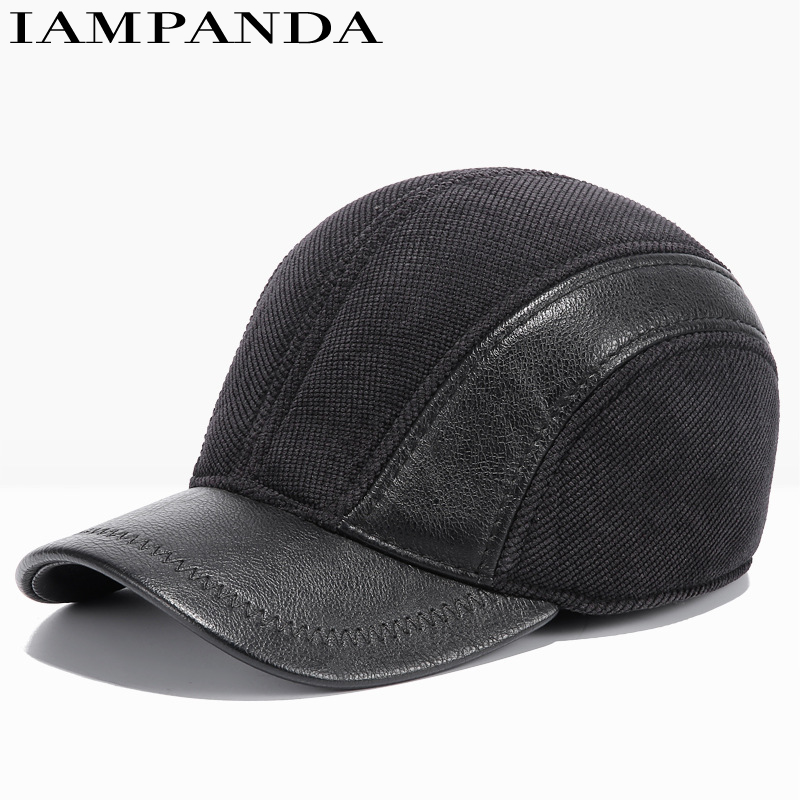 IAMPANDA 2017 branded NEW winter Super warm snapback leather baseball caps dad hat patchwork Adjustable cap men casquette bone mens winter leather cap warm patchwork dad hat baseball caps with ear flaps russia adjustable snapback hats for men casquette