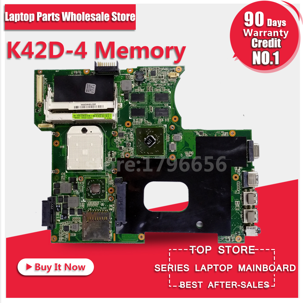 Laptop Motherboard For ASUS K42DR K42D K42DE K42DY A42D X42D 4 Memory 512M System Board Main Board Mainboard Card Logic Board 4743 laptop motherboard 4
