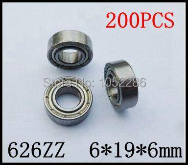 200pcs/lot  626ZZ   miniature radial ball bearing 626 626Z shielded deep groove ball bearings 6*19*6mm