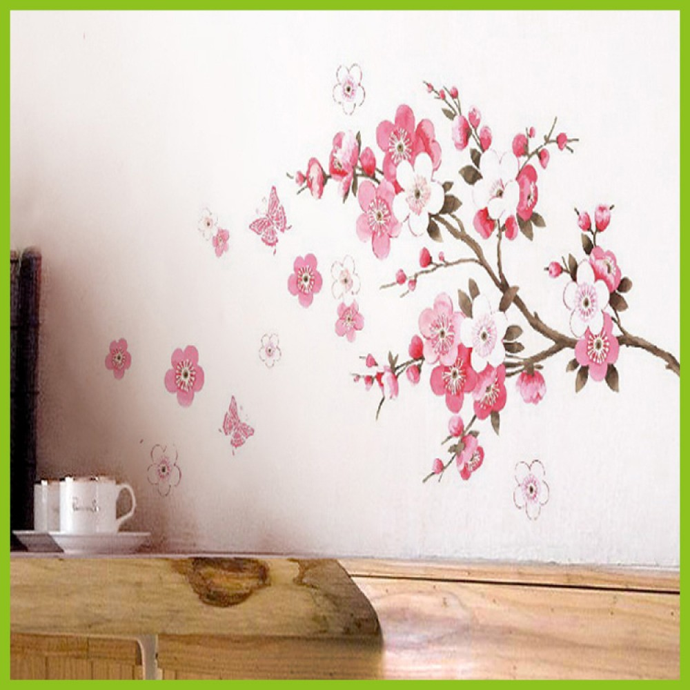 Buy sakura flower wall sticker beautiful flower wall decals for living room for Beautiful wall stickers for living room