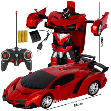 Rc Transformer 2 In 1 RC Car Driving Sports Cars Drive Transformation Robots Models Remote Control Fighting Boy Toy Gift