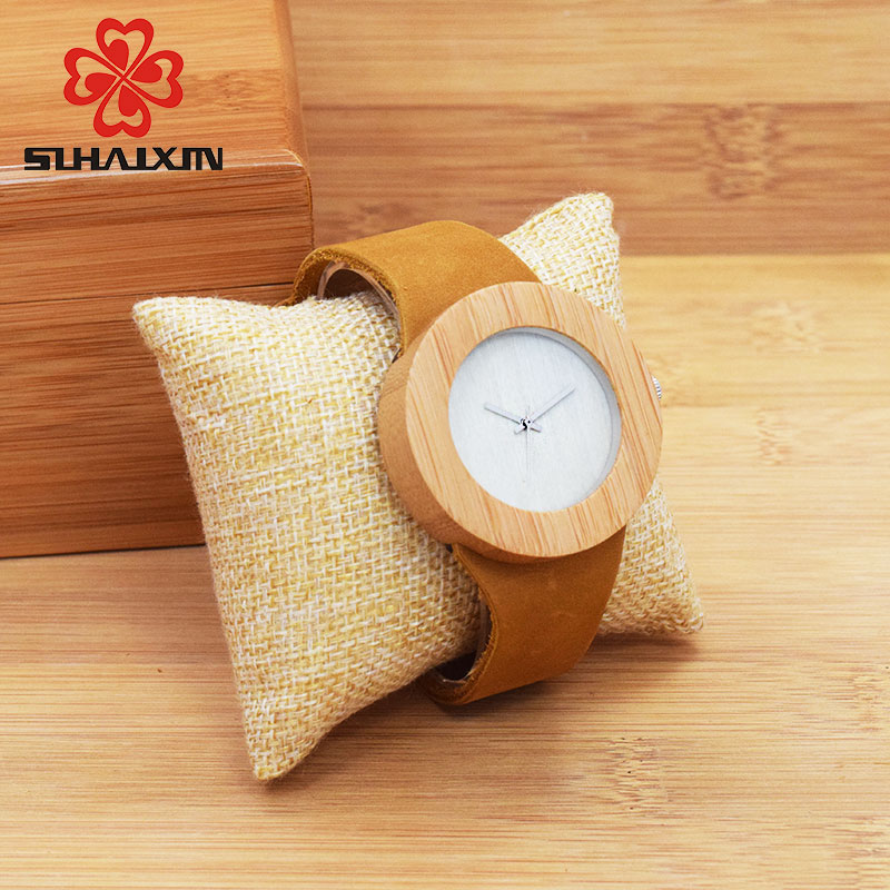 SIHAIXIN Bamboo Wood Watches Menn Fashion Quartz Armbåndsur Leather - Herreklokker - Bilde 2