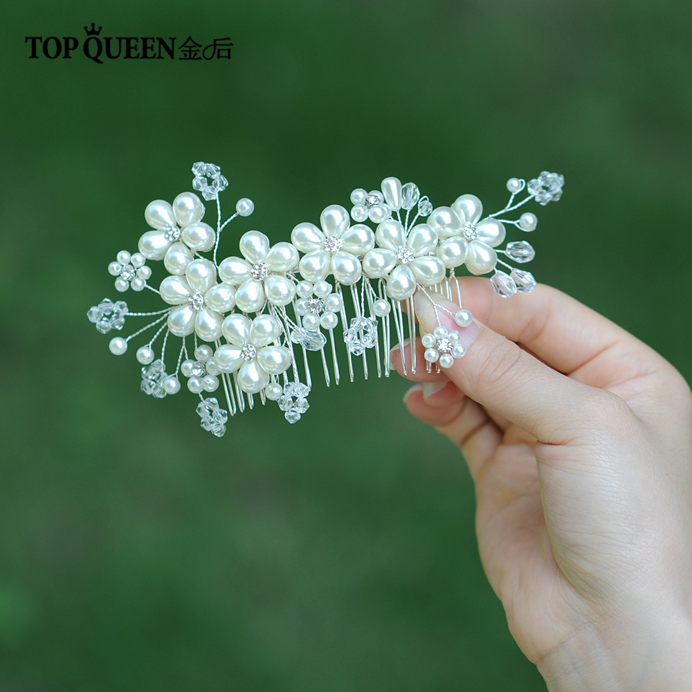 TOPQUEEN Luxury Bridal Hair Comb And Clip Pearl Beaded Wedding Hair Clips Rhinestone Wedding Hair Accessories Hair Comb  HP05