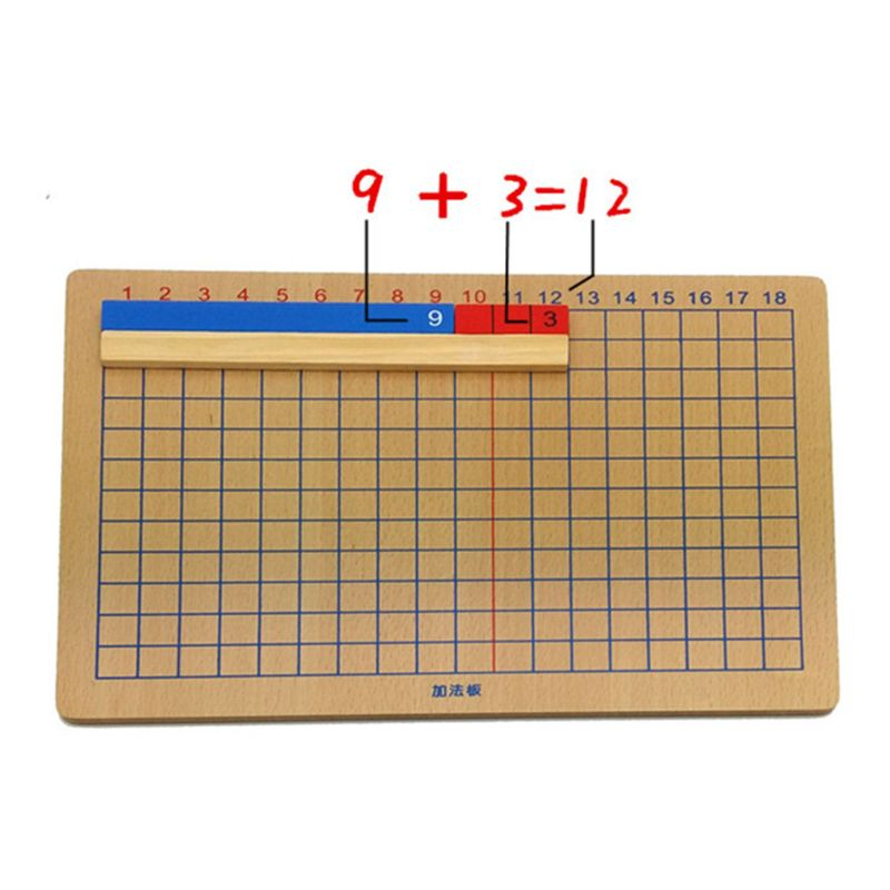 Holz Montessori Mathe Material Addition /& Subtraktion Board Family Set