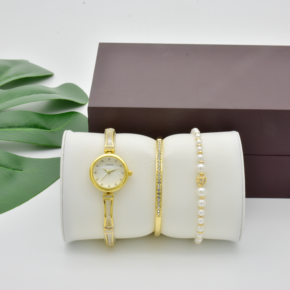 New Fashion Women Watch Set Ladies Nobler Fashion Casual Gold Simple Round Dial Bracelet Watch Quartz Wristwatch Female With Box все цены