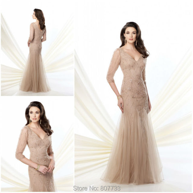 fc8814d88a Bridals CW3447 Glorious heavy beaded half sleeves trumpet mermaid champagne tall  mother of the bride dresses